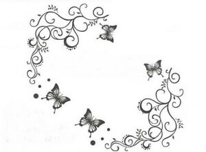 Blumen-Wandsticker-Natur-Wandtattoo-WandAufkleber-Schmetterling-Sticker