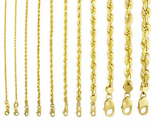 "Solid 14K Yellow Gold 1-10mm Rope Chain Link Pendant Necklace Men Women 16""- 30"""