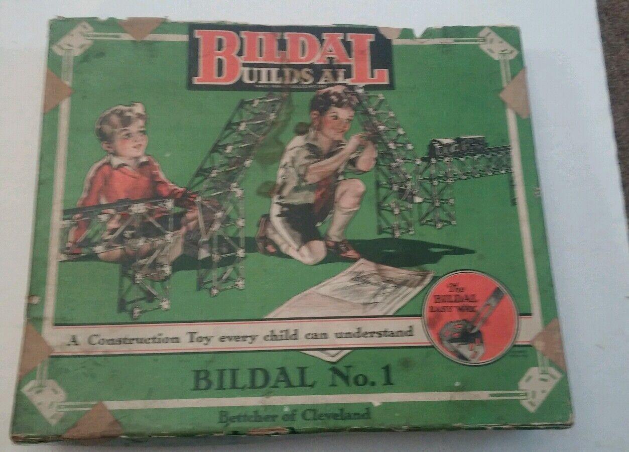 1920s conjunto de construcción bildall con caja y las instrucciones