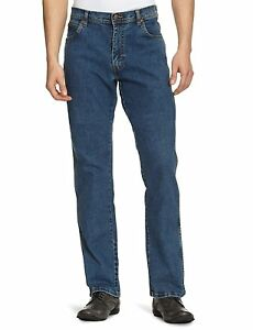 Jeans misure Regular Stone Fit dritta gamba Texas Stretch Wrangler le Tutte Blue Denim t7qw6axS