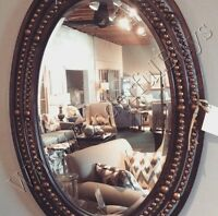 Oval Rivet Wall Mirror Antique Bronze Metal Neiman Marcus Tuscan Style