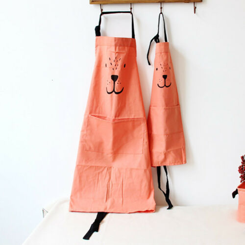 Parent Children Cartoon Bear Apron Cotton Linen Kitchen Cooking Baking Apron UK