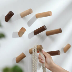 Wood-Hook-Wooden-Coat-Mounted-Clothes-Scarf-Storage-Hanger-with-screw-Useful