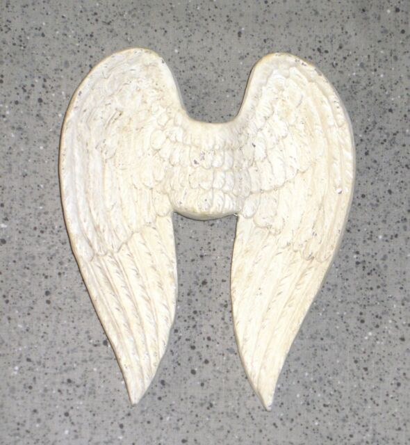 NEW~Resin ANGEL WINGS Wall Hanging Decor Antique White Finish Christian