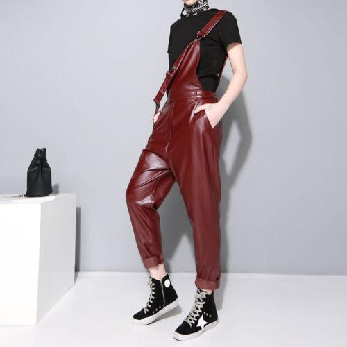 Pantaloni lunghe donna a lunghe in pelle a alta maniche vita da con maniche wWw6FrRq