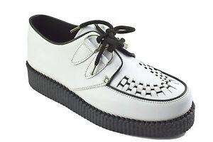 best sneakers abfae 2089b Dettagli su Scarpe di terra in acciaio in pelle bianca suola Creepers Basse  Casual Anello D Sc400Z21- mostra il titolo originale