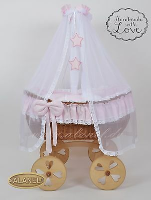 Cribs Alanel Deluxe Drape Wicker Crib Moses Basket Ophelia Uno Heart Antique Pink Nourishing Blood And Adjusting Spirit