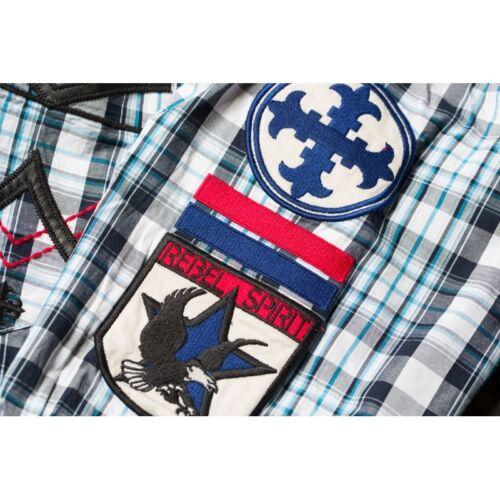 REBEL SPIRIT Hemd LSW131587 Blau Hemden Herren  Rebel Spirit LSW131587