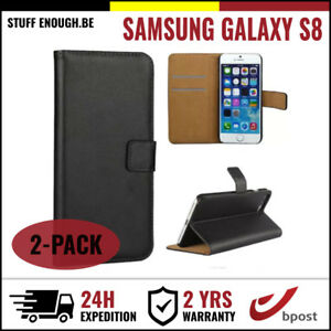 2IN1-Wallet-Flip-Case-Cover-Cas-Coque-Etui-Hoesje-Black-For-Samsung-Galaxy-S8