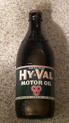 NOS Hy-Val Motor Oil Quart Glass Bottle