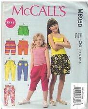 MC CALL'S M6950 GIRL'S PATTERN SIZE: 7 TO 14; MODERATE STRETCH KNIT SHORT & PANT