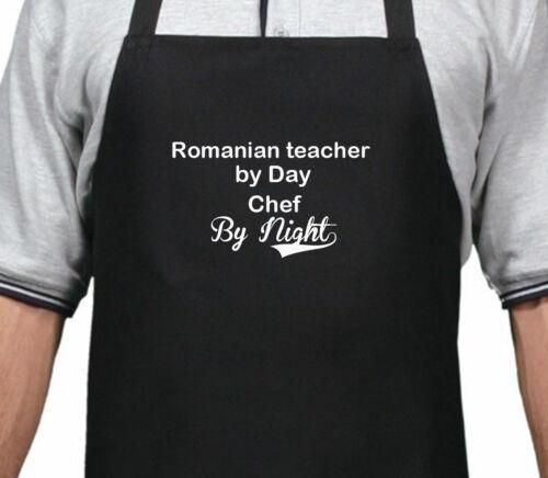 Profesor rumano Personalizado Por Día Chef por Noche Delantal Navidad Regalo De Cumpleaños