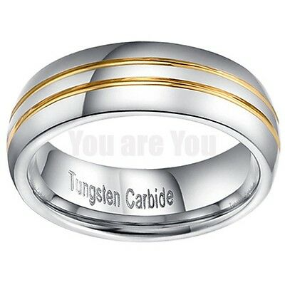 Fashion Mens 18K Gold PL Groove Tungsten Carbide Wedding Band Ring Gift