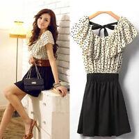 Stylish Women Summer Short Sleeve Chiffon Dots Polka Waist Top Mini Dress S M L