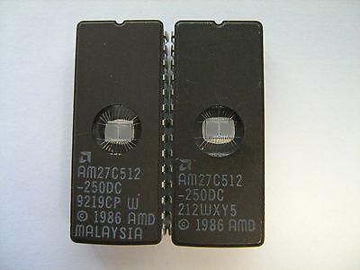 AMD AM27C512-250DC AM27C512 IC 28Pin DIP EPROM Lot of 2 Pcs TESTED