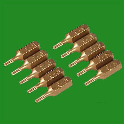 """4x T40 25mm Gold Screwdriver Bits Titanium Coated 1//4/"""" Torx Drive S2 Steel"""