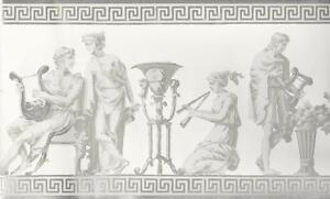 Wallpaper-Border-Designer-Greek-Roman-Statues-Gray-Metallic-Silver-on-White
