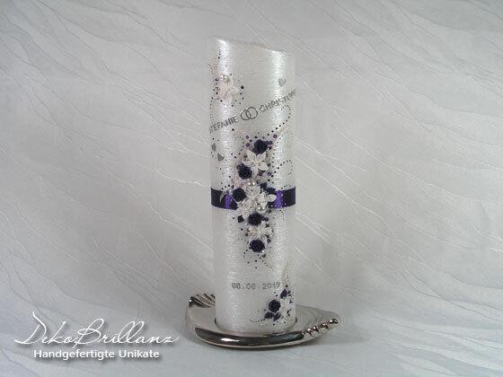 Hochzeitskerze Wedding Candle (Zärtlichkeit) Perlmutt Oval Lila NEU
