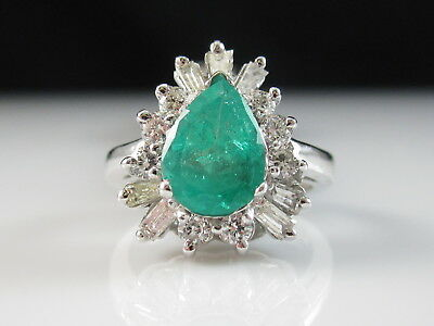 14K Emerald Diamond Ring Estate Ballerina Pear Green Baguette Cluster Cocktail