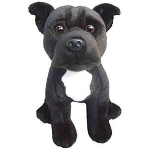 Peluche-Chien-Staffordshire-Taureau-Terrier-Noir-Doux-Mignon-Jouet-Animal-Griffe