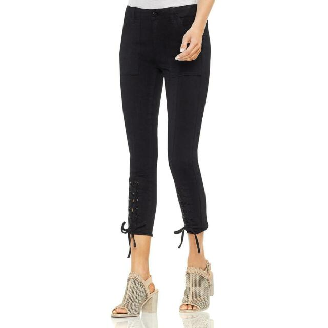 Vince Camuto Womens Black Lace-Up Denim Day to Night Skinny Jeans 28 6 BHFO 5186