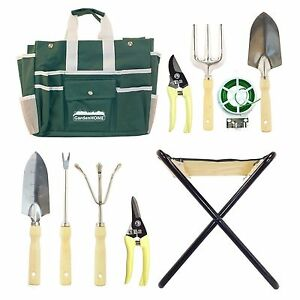 Image Is Loading Garden Tool Kits Set Folding Stool Bag Home
