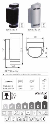 Kanlux IP44 2x GU10 led compatible mur montage luminaire up /& down noir clair