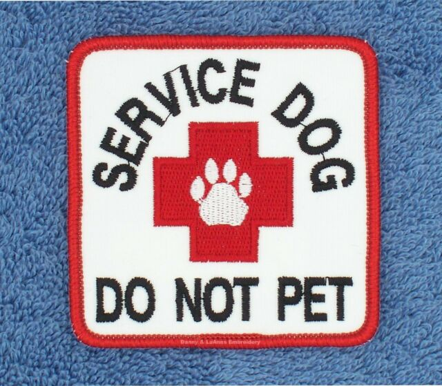 SERVICE DOG DO NOT PET PATCH 3X3 INCH RED CROSS Danny & LuAnns Embroidery