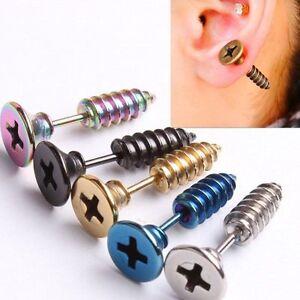 Punk-For-men-women-Whole-Screw-Ear-studs-Earrings-stainless-steel-Gothic-2Piece