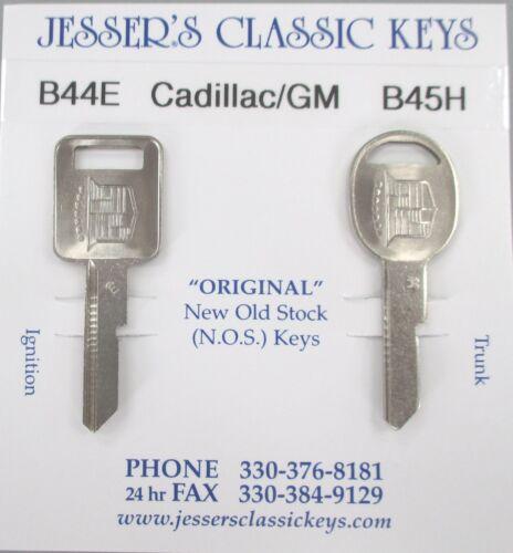 Rare Eldorado Original NOS E/&H Cadillac//GM Badge Nickel Key Set B44E /& B45H