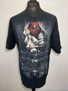 Spiral Direct Mens Black Gothic Graphic Print T Shirt XL Biker