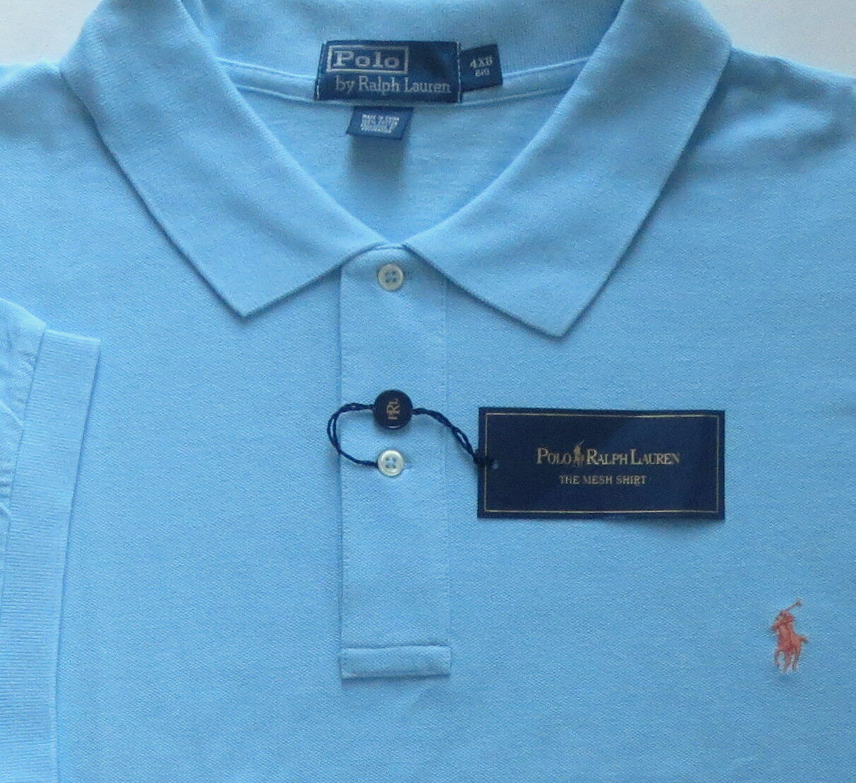 New Polo Ralph Lauren Pool bluee Cotton Mesh Polo Shirt   Big 4X