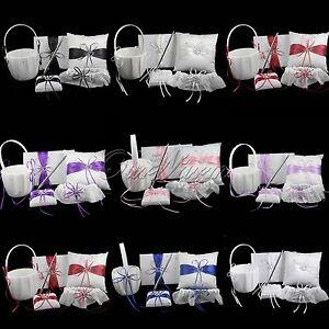 5pcs-Set-Wedding-Flower-Basket-Guest-Book-Pen-Set-Ring-Pillow-Garter-Set