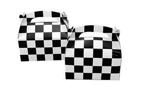12pk-Black-amp-White-Checkered-Favor-Treat-Boxes-Nascar-Racecar-Party-Supplies