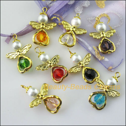 8Pcs Gold Plated Wings Heart Dancing Mixed Angel Charms Pendants 21.5x33mm