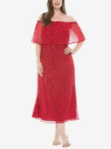 Details about PISARRO NIGHTS® Plus Size 16W Red Off-The-Shoulder Sequin  Dress NWT $230