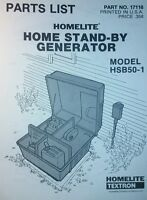 Homelite Hsb50-1 Home Stand-by Generator Parts Manual 8pg Preppers Off-grid Camp