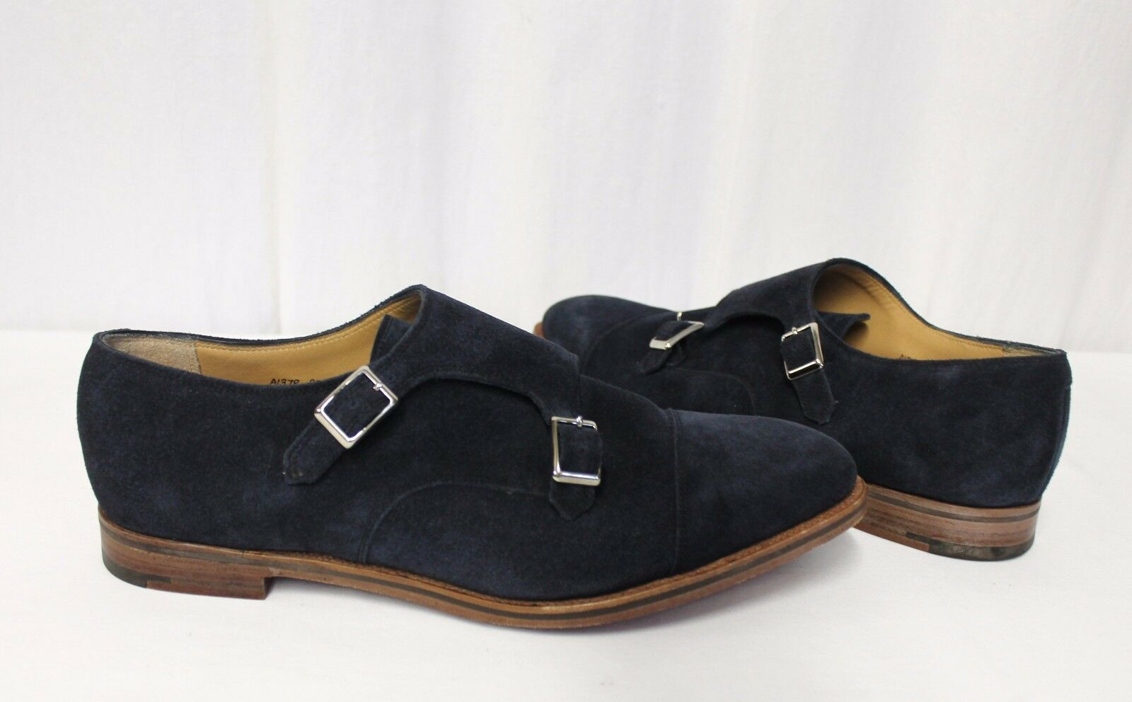 Alfred Ssilver For J.Crew Double Monk Strap shoes In Suede Navy 12 A1378