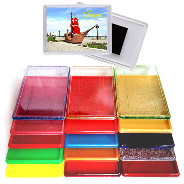 97x66MM 3,8x2,6  CLEAR  Coloreee  GLITTERS ACRYLIC BLANK FRIDGE MAGNETS PHOTO FRAME