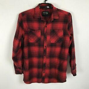 Ninth-Hall-Flannel-Shirt-Mens-Size-L-Red-Black-Lumberjack-Plaid-Long-Sleeve