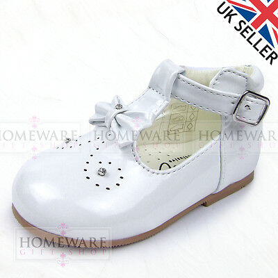 Bebé Niñas Zapatos Estilo Español T-Bar Arco Diamante Rosa Blanco Camel Infantil Reino Unido 2-6
