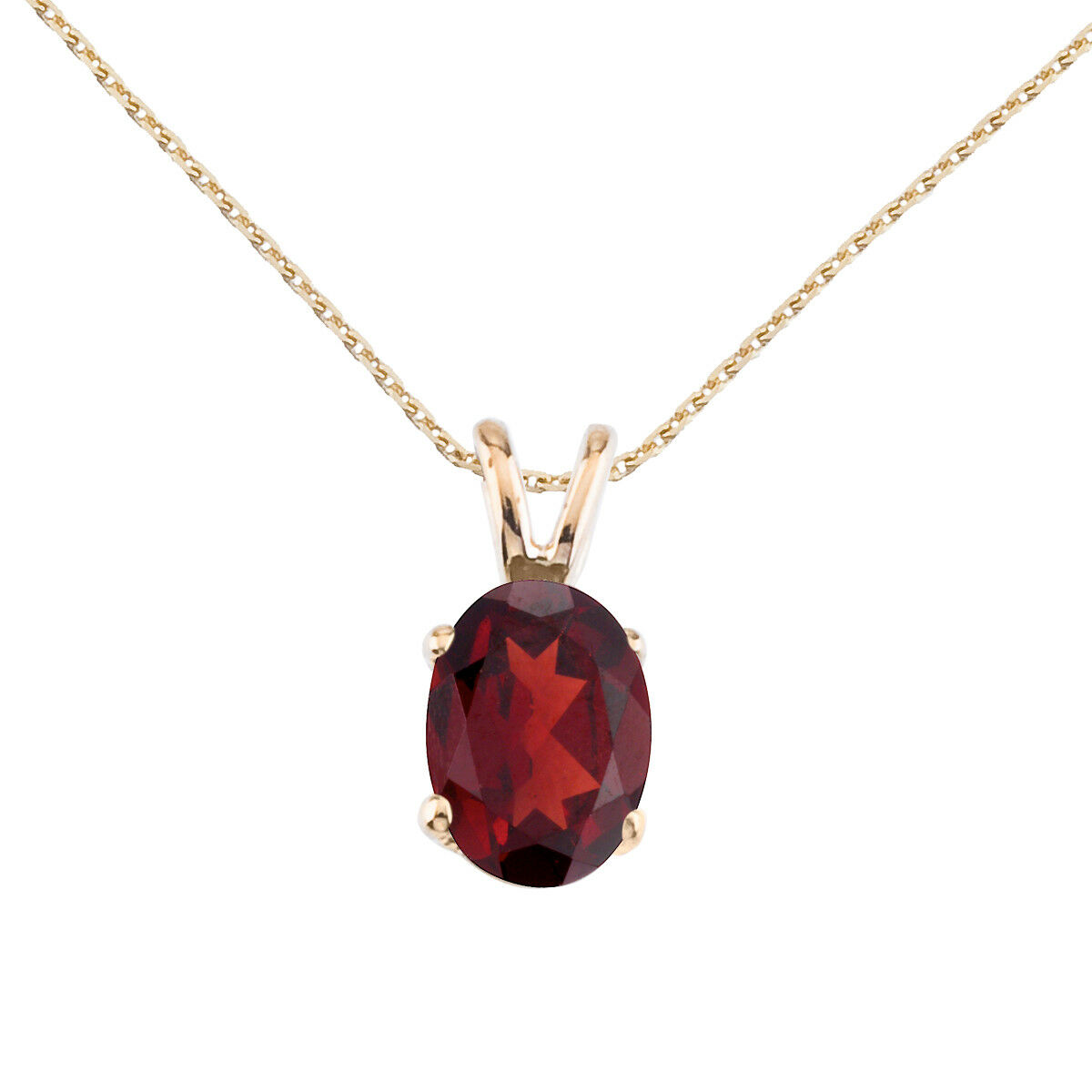 14k Yellow gold Oval Large 6x8 mm Garnet Pendant with 18  Chain