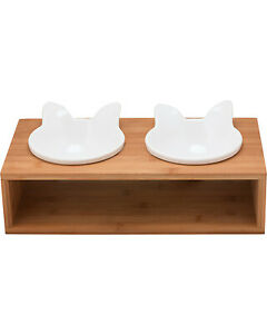 3pc-10-strawberry-street-PORCELAIN-PET-FEEDER-BOWLS-w-BAMBOO-STAND-SET-cat-dog
