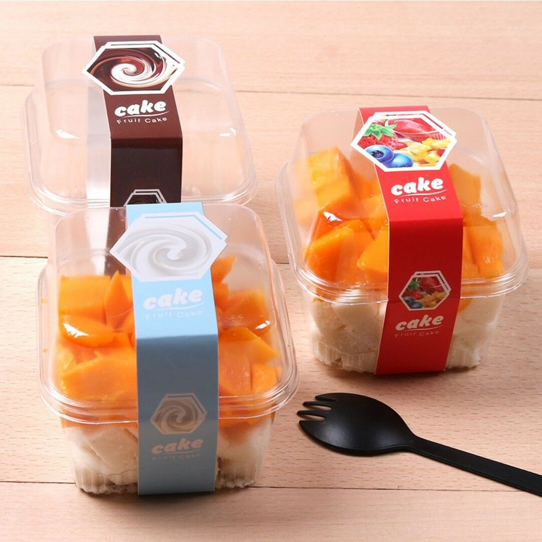 Clear Square Plastic Box Container Lid For Pudding Ice Cream Cake Fruit BPA Free