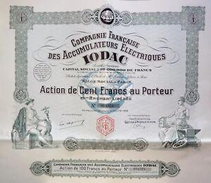 Compagnie Française Des Accumulateurs Électriques Iodac Action 100 Francs 1928 3skzwd8n-07214352-148791461