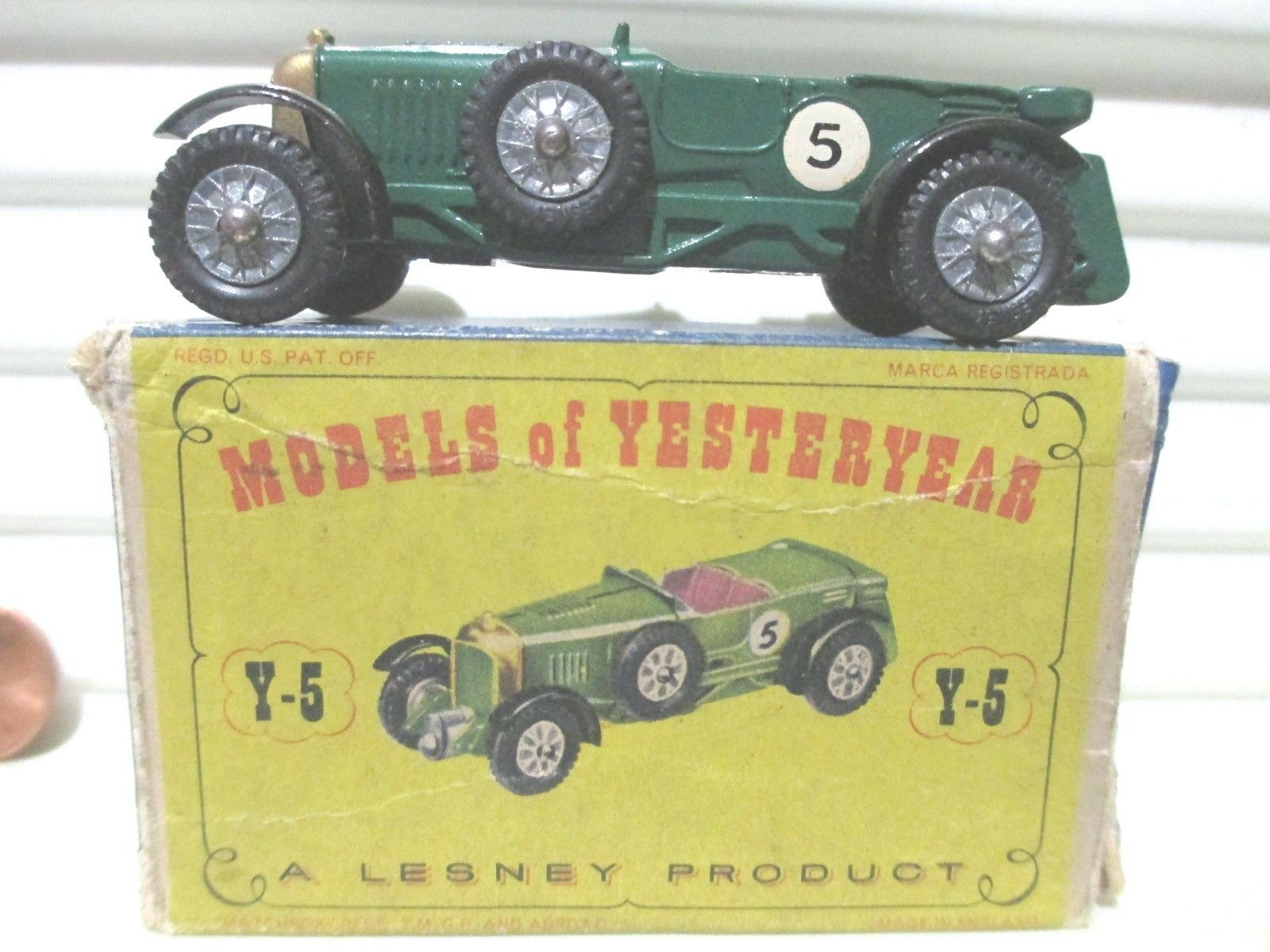 Lesney Matchbox 1958 modelos de antaño Y5 verde'29 Lemans Bentley rivetaxles