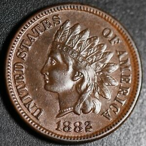 1882-INDIAN-HEAD-CENT-With-LIBERTY-amp-Near-4-DIAMONDS-AU-UNC