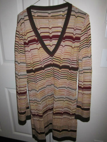 MISSONI SWEATER DRESS - RED, GOLD, SILVER & BROWN
