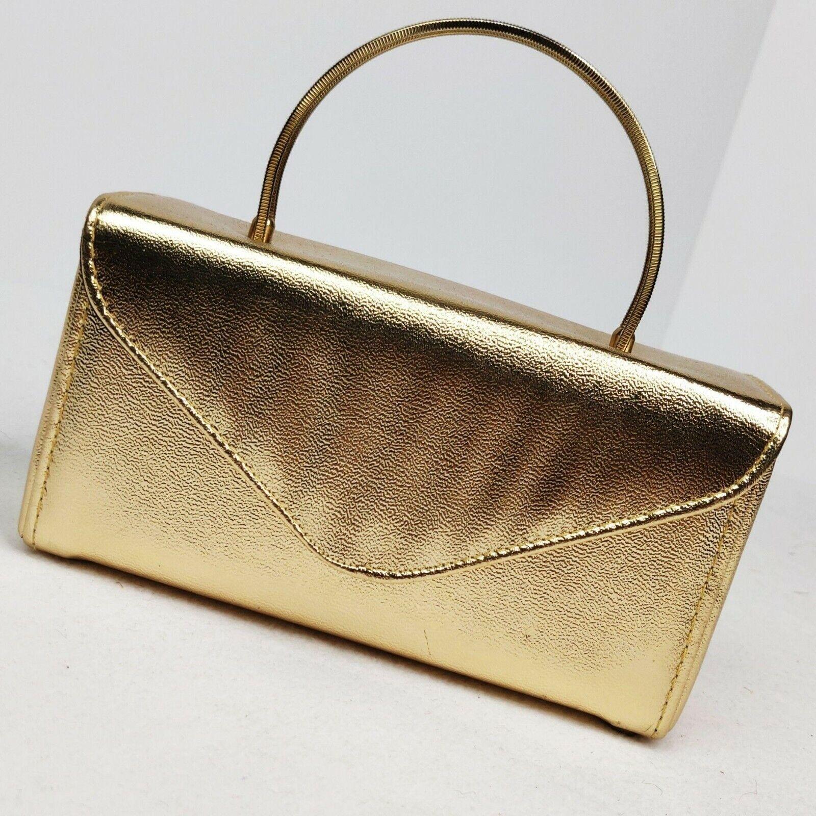 Vintage 1960s Gold Box Purse Handbag Metal Coil Handles Footed Base Metallic