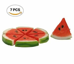 R.FLOWER 7PCS Highly Simulated Watermelon Slices Artificial Lifelike Red Fake